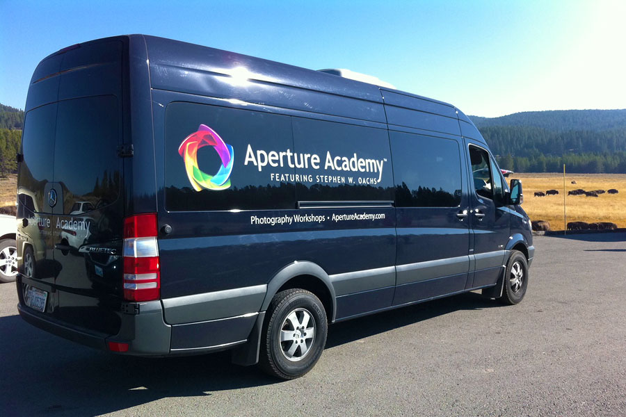 Aperture Academy Mercedes Passanger Van in Yellowstone National Park